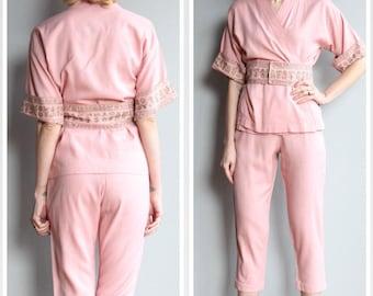 1950s Hawaiian Pant Set // Waikiki Liberty House Kimono Style Jacket & Capri Pant // vintage 50s Hawaiian Set