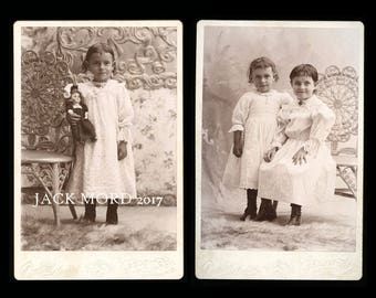 antique cabinet card photos happy little girl holding doll + 1890s wisconsin