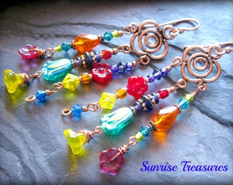 Copper Earrings, Bohemian Beaded Chandelier Earrings, Colorful Earrings, Boho Flower Earrings, Hippie Earrings, Colorful Jewelry