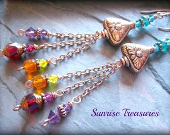 Copper Chain Dangle Earrings, Colorful Earrings, Multi Colored Glass Bohemian Earrings, Rainbow Earrings, Colorful Jewelry