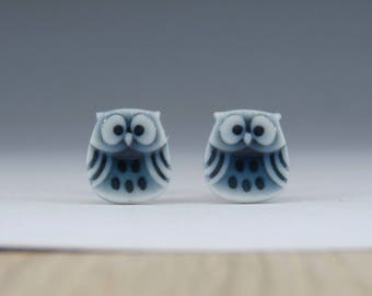 Owl stud earrings peacock green porcelain