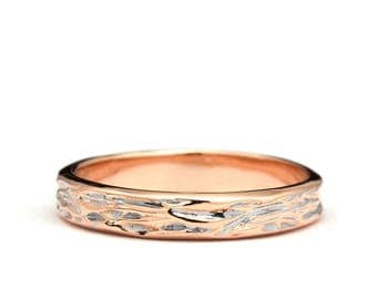 Wood Grain Ring in Rose gold - Wood Grain wedding band in rose gold - Rose gold wedding ring - Wood Grain Rose Gold ring