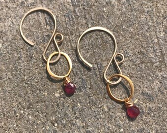 Pink sapphire gold vermeil earrings