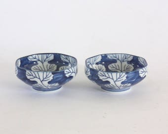 Vintage Pair of Blue and White Porcelain Bowls