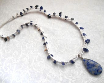 Simple Sodalite necklace, macrame, macrame necklace