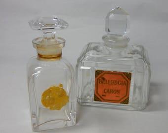 2 Vintage Perfume Bottles BELLODGIA by Caron Baccarat Crystal & HOUBIGANT    OCM38