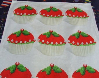 Chistopher Vine Tea Towel. Cotton. Red Cherry Cupcakes