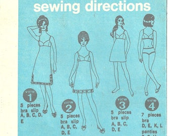Bra, Bikini panties, bra-slip Simplicity Pattern 9127 Size 10 Bust 32 Vintage 1970's