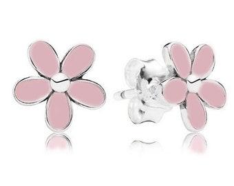 Pink Enamel 925 Sterling Silver Stud Earrings Studs