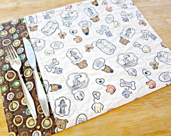 Quilted Placemats, Dog Placemats, Dog Home Decor, Fabric Placemats, Pet Decor, Dog Lover Gift, Pet Decor, Brown and White Placemats