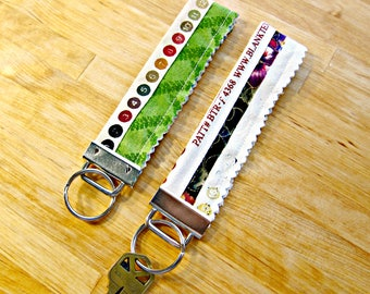 Selvage Key Fob, Key Ring, Purse Accessory, Fabric Wristlet, Key Chain, Key Holder, Key Strap, Selvage, Fabric Key Fob, Upcycled Accessory