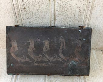 Vintage Copper Pigeons Etched Printing Plate