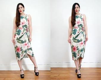 Vintage Floral Tropical Hawaiian Holiday Summer Dress