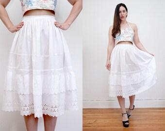 Vintage White Cotton Eyelet Praire Batik Boho Hippie High Waist Maxi Skirt 70s