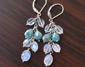 Silverite Earrings, Rainbow Moonstone, Pale Blue Aquamarine, Sterling Silver Leverback, Gemstone Jewelry, Winter Wedding, Free Shipping