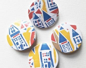 Bauhaus Badge 38mm Pin // House Pattern // Pop Art Print Button Badges
