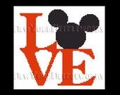 Mickey Love Cross Stitch, Mickey Mouse Cross Stitch, Disney Cross Stitch, Love Pattern, Mickey Mouse, Crochet Pattern by NewYorkNeedleworks
