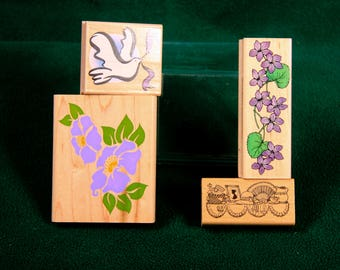 Lot of 4 Flowers and a Dove stamps New and Used Hero Arts ,Delafield Stamp Co