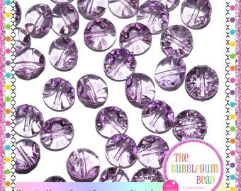 13mm PURPLE TRANSPARENT HALF Round Buttons, Kawaii Button, Qty 20, Notions, Buttons, Shank Buttons, Whimsical Buttons, The Bubblegum Bead Co
