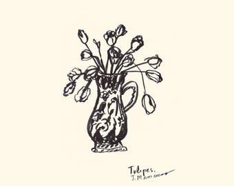 Tulips in vase,  original art print