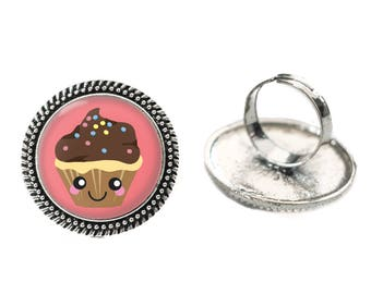 Kawaii Happy Chocolate Cupcake Glass 25mm Cabochon Silver Double Rope Adjustable Ring