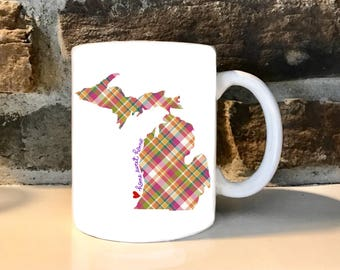 Multi Color Plaid Michigan  11 oz Coffee Mug