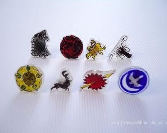 Stud earrings - Game of Thrones handmade art jewelry shrinky dink plastic Stark Tyrell Greyjoy Martell Targaryen Arryn Lannister Baratheon