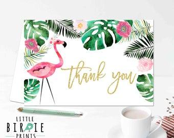 Flamingo thank you card Tropical thank you card Birthday thank you card Flamingo baby shower Flamingo bridal shower Flamingo birthday party