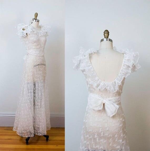 1930er Jahre Hochzeitskleid / 30er Jahre weiß Organza Kleid