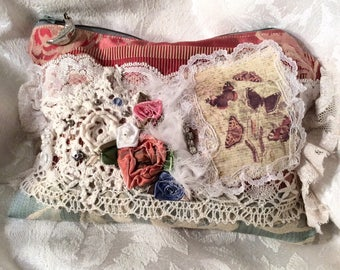Small Fabric Clutch, handmade mixed textured fabrics, beads lace embellished, S4