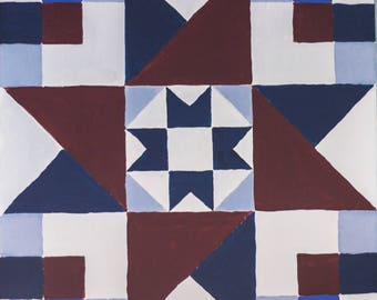 Quilt Block Painting Quilting Art 12x12 Canvas Red and Blue Star