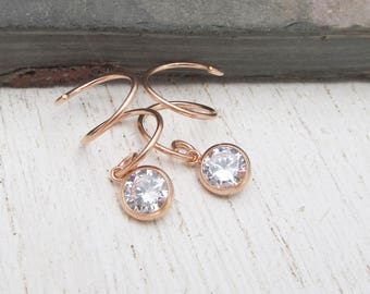 Rose Gold Filled Double Piercing Earrings / Cubic Zirconia Earrings / Two Piercing Earrings / CZ Hoops for Double Pierced Lobes 105381