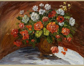 Roses 23 x 30 Original Oil Painting Palette Knife ColorfulFlowers Vase Bouquet Textured  by Marchella