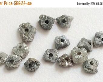 ON SALE 50% WHOLESALE 4 Pcs Large Hole Grey Rough Diamond Beads, 1mm Drilled Grey Diamond, Loose Diamond, Conflict Free, 5-7mm