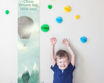 "Custom/ Personalized Hot Air Balloon ""Dream Big"" canvas growth chart - perfect for gender neutral nursery or boys room!"