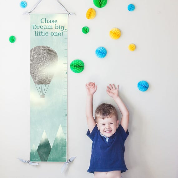 "Personalized Hot Air Balloon ""Dream Big"" canvas growth chart"