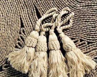 Four TASSELS  Beige cotton