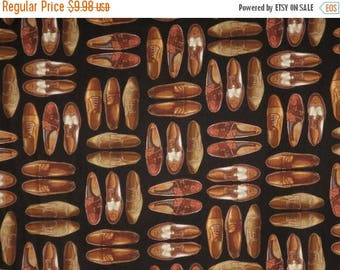 ON SALE Clever Brown on Black Men's Shoes Print Pure Cotton Fabric--One Yard