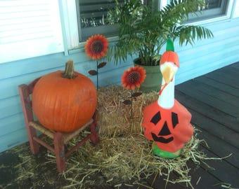 GOOSE CLOTHING - Halloween Pumpkin Goose outfit - Orange Felt - Black Felt for face - Plastic or Cement lawn goose