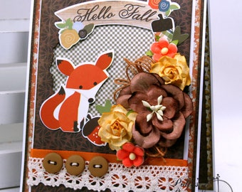Hello Fall Greeting Card Polly's Paper Studio Handmade