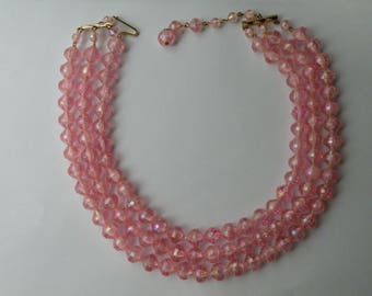 West Germany Western Germany pink AB plastic necklace. 3 strand.