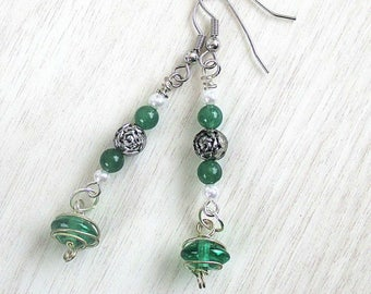 Green Earrings, Aventurine Pearl Earrings, Silver and Green Hypoallergenic Nickelfree Earrings, St. Patrick's Day, Gift for Her 2-1/2in
