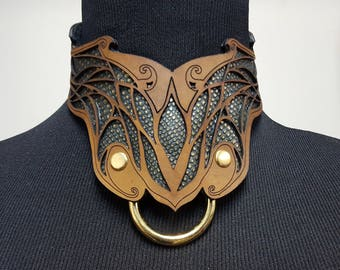Dragon hide Leather collar, BDSM collar, Costume Collar