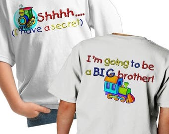 FLASH SALE Train Big Brother Shirt - Shhh i have a secret I'm going to be a big brother train t-shirt - Train Shirt - sibling train shirt