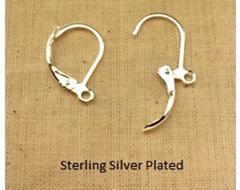 Leverbacks, Split ring, Oval, Fine Silver, Surgical steel, American made, 12x10mm, 8 pieces per back, Priced per Bag