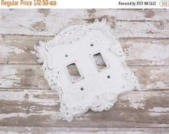ON SALE Light Switch Cover / Shabby Chic Light Switch Cover / White Light Plate  / Double Light Switch Cover