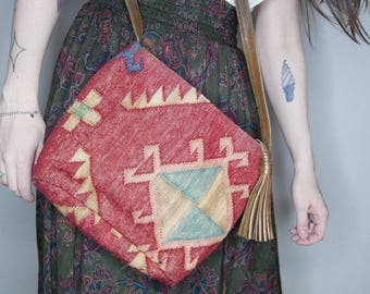 90s southwest rug cross body purse with leather tassel