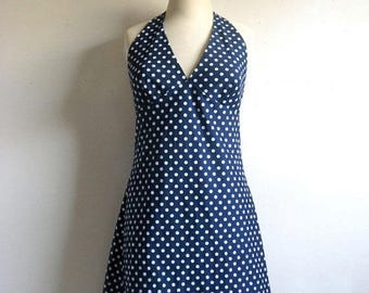 50OFF Event Vintage 1960s Scooter Dress Navy Blue White Mini Halter Dress 11-12