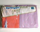 RESERVED FOR Sabrina Burlington House Pillowcases Set in Package Vintage Purple White Orange-Pink Colors New Old Stock
