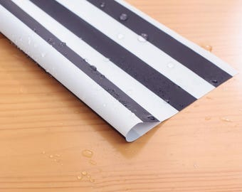 Wide Waterproof Polyester Fabric By the yard  '2 cm Navy Stripe ' (width 59 inches) 90342